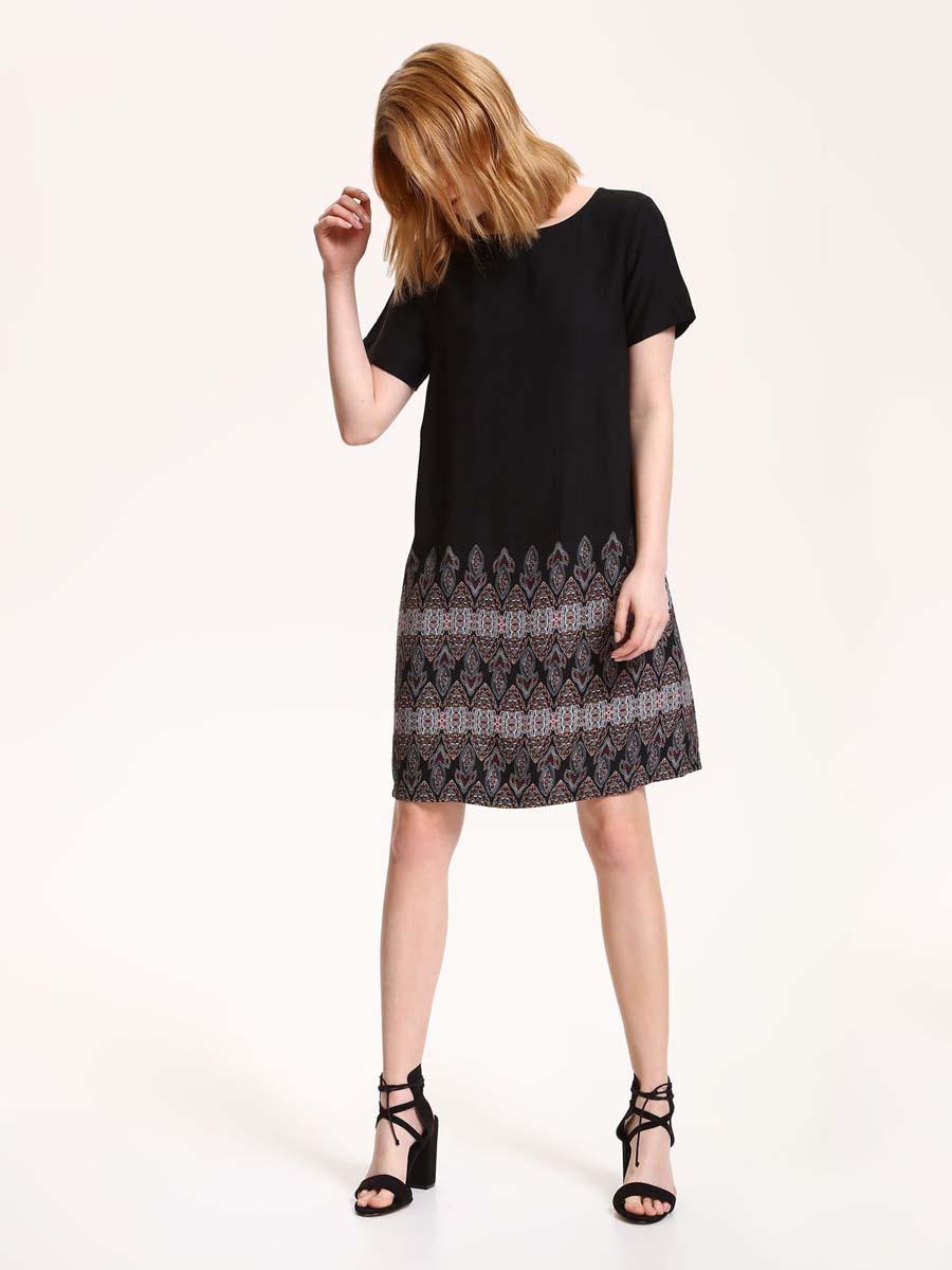 Платье Top Secret, цвет: черный. SSU1792BI. Размер 34 (42)SSU1792BIПлатье Top Secret выполнено из вискозы. Модель длины миди с короткими стандартными рукавами и круглым вырезом горловины. Низ подола оформлен узорным принтом.