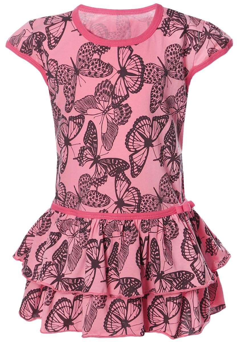 Платье для девочки КотМарКот, цвет: коралл. 21503. Размер 9821503Яркое платье для девочки КотМарКот выполнено из качественного хлопка. Модель прямого кроя с юбкой-воланом и короткими рукавами-крылышками оформлена принтом. Модель с круглым вырезом горловины дополнена сбоку текстильным бантиком.