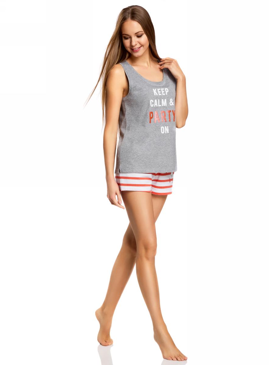 Пижама женская oodji Ultra, цвет: серый, красный. 56002207-2/46948/2345P. Размер XS (42)56002207-2/46948/2345PЖенская пижама от oodji, состоящая из майки и шорт, выполнена из хлопкового материала. Майка спереди оформлена принтованной надписью, шорты - в полоску.
