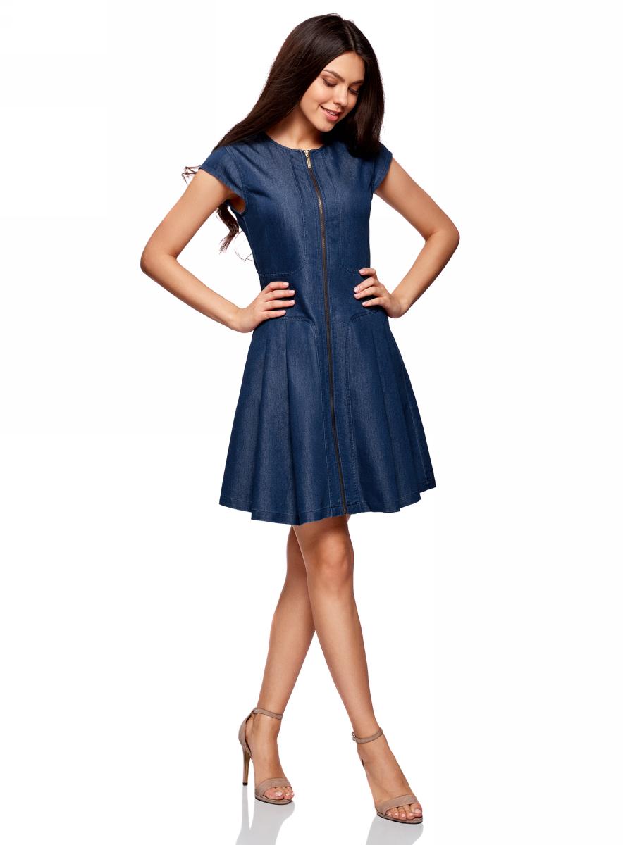 Платье oodji Ultra, цвет: синий джинс. 12909050/46684/7500W. Размер 38-170 (44-170)12909050/46684/7500WСтильное платье выполнено из хлопка с полиэстером. Модель с короткими рукавами-крылышками застегивается на молнию по всей длине.