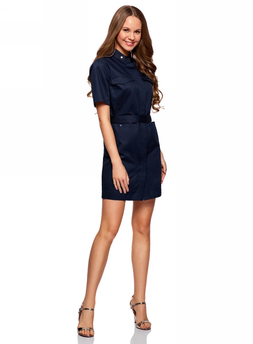 Платье oodji Ultra, цвет: темно-синий. 11909002/33113/7900N. Размер 44-170 (50-170)11909002/33113/7900NПлатье-рубашка с карманами