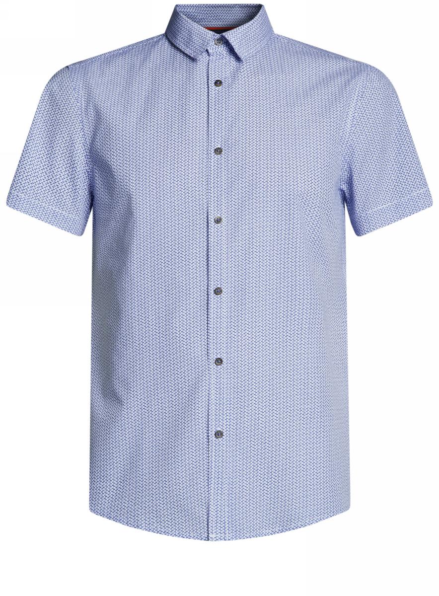Рубашка мужская oodji Lab, цвет: белый, синий. 3L410102M/39312N/1075G. Размер S-182 (46/48-182)3L410102M/39312N/1075GМужская рубашка от oodji выполнена из натурального хлопка. Модель приталенного кроя с короткими рукавами застегивается на пуговицы.