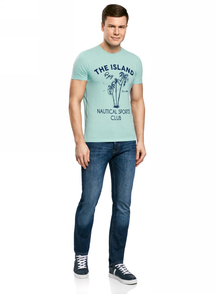 Футболка мужская oodji Lab, цвет: бирюзовый. 5L611351M/39485N/7379P. Размер XL (56)5L611351M/39485N/7379PМужская футболка с круглым вырезом горловины и короткими рукавами выполнена из натурального хлопка. Спереди модель оформлена принтом пальмы.