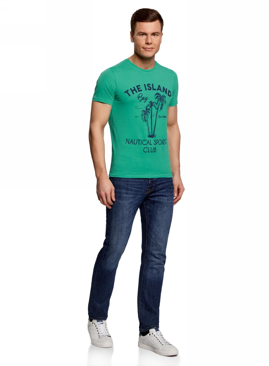 Футболка мужская oodji Lab, цвет: ментоловый. 5L611351M/39485N/6579P. Размер XS (44)5L611351M/39485N/6579PМужская футболка с круглым вырезом горловины и короткими рукавами выполнена из натурального хлопка. Спереди модель оформлена принтом пальмы.