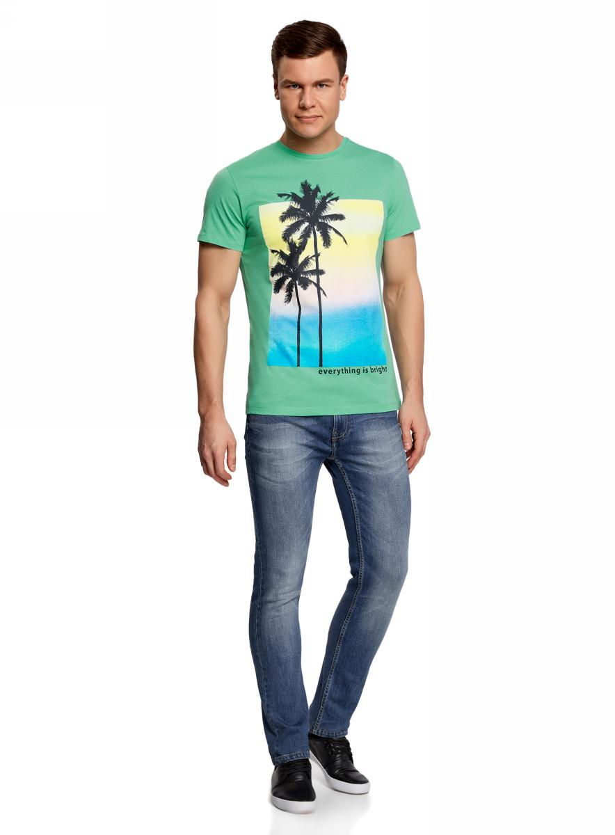 Футболка мужская oodji Lab, цвет: морская волна. 5L601005M/39485N/6C79P. Размер XS (44)5L601005M/39485N/6C79PМужская футболка с круглым вырезом горловины и короткими рукавами выполнена из натурального хлопка. Спереди модель оформлена пляжным принтом.