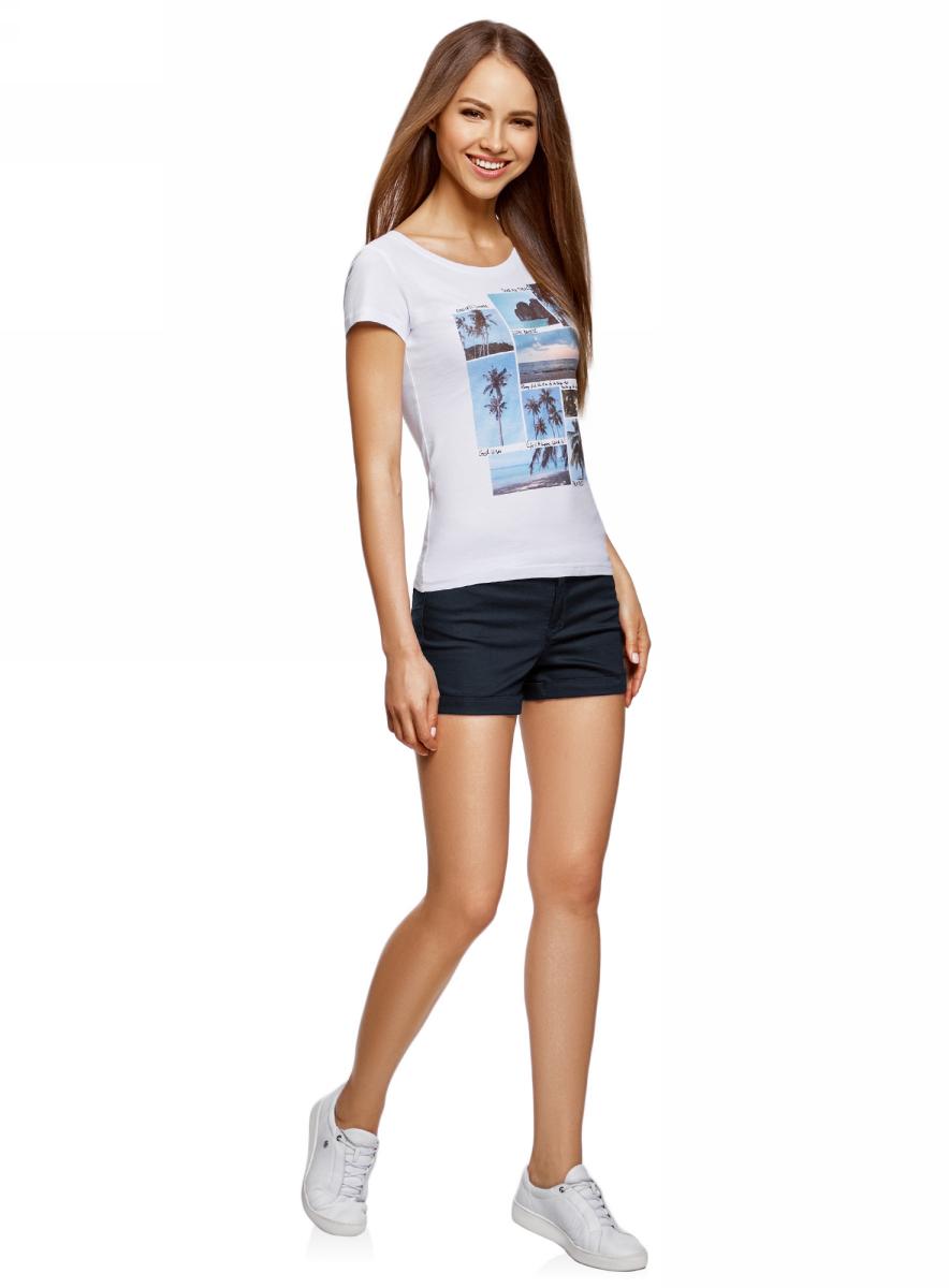 Шорты женские oodji Ultra, цвет: темно-синий. 12807082B/45491/7900N. Размер 25 (40)12807082B/45491/7900NШорты джинсовые стретч с отворотами