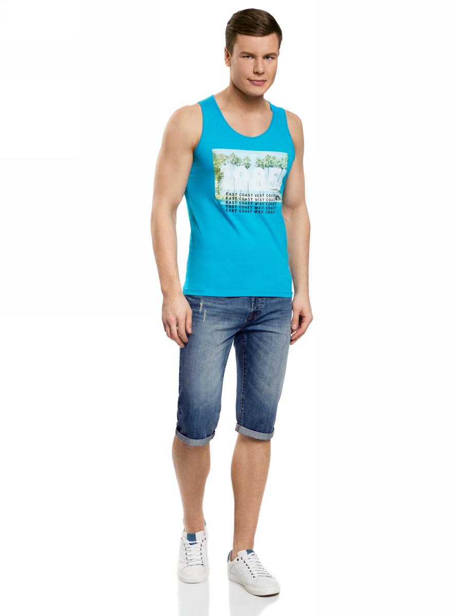 Шорты мужские oodji Lab, цвет: синий джинс. 6L200011M/35771/7500W. Размер 30 (46/48)6L200011M/35771/7500WШорты джинсовые с потертостями