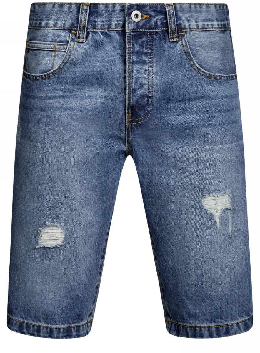 Шорты мужские oodji Lab, цвет: синий джинс. 6L220016M/35771/7500W. Размер 29 (46)6L220016M/35771/7500WШорты oodji выполнены из высококачественного хлопка. Шорты застегиваются на пуговицу в поясе и ширинку на застежке-молнии, дополнены шлевками для ремня. Спереди модель оформлена двумя втачными карманами, одним маленьким накладным, а сзади - двумя накладными карманами. Изделие дополнено ремешком, декоративными потертостями и «рваным» эффектом.