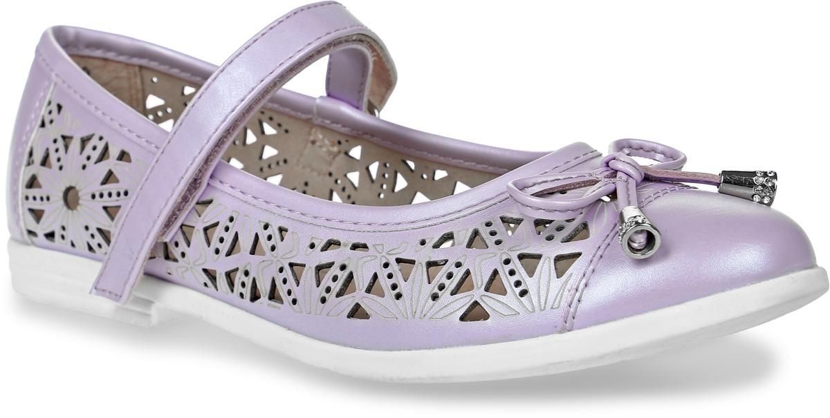 Туфли для девочки Котофей, цвет: сиреневый. 533007-22. Размер 33533007-22Модные туфли для девочки от Котофей выполнены из искусственной кожи и оформлены декоративной перфорацией, на мыске - бантиком. Ремешок с застежкой-липучкой надежно зафиксирует модель на ноге. Внутренняя поверхность и стелька из натуральной кожи обеспечат комфорт при движении. Подошва и невысокий каблук дополнены рифлением.