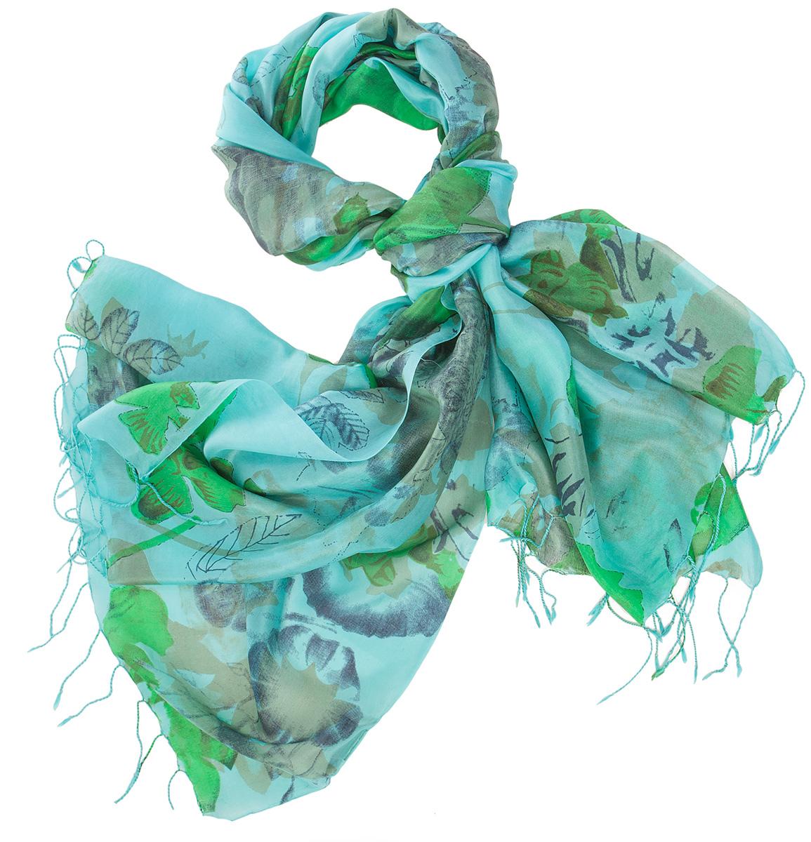 Палантин женский Michel Katana, цвет: голубой, синий, зеленый. S30-SMUDGE.FL/TUR.GREEN. Размер 110 x 180 смS30-SMUDGE.FL/TUR.GREENСтильный женский палантин от Michel Katana станет великолепным завершением любого наряда. Палантин изготовлен из шелка и оформлен ярким принтом. По краям модель дополнена неширокой бахромой. Изящный палантин поможет вам создать изысканный женственный образ, а также согреет в непогоду.