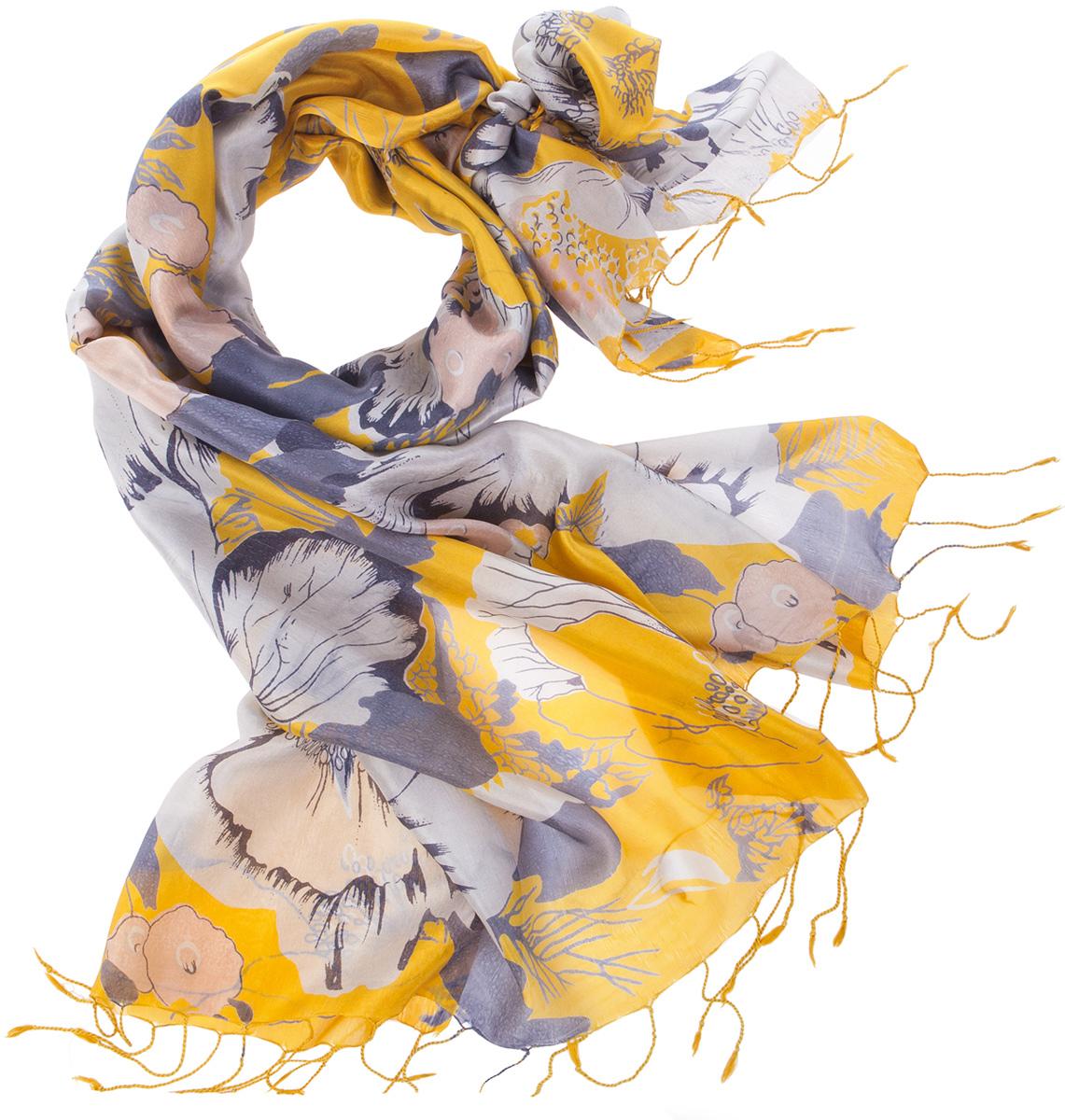 Палантин женский Michel Katana, цвет: желтый, серый, белый. S30-HIBIS.EXOTIC/GOLD.YEL. Размер 110 x 180 смS30-HIBIS.EXOTIC/GOLD.YELСтильный женский палантин от Michel Katana станет великолепным завершением любого наряда. Палантин изготовлен из шелка и оформлен ярким принтом. По краям модель дополнена неширокой бахромой. Изящный палантин поможет вам создать изысканный женственный образ, а также согреет в непогоду.