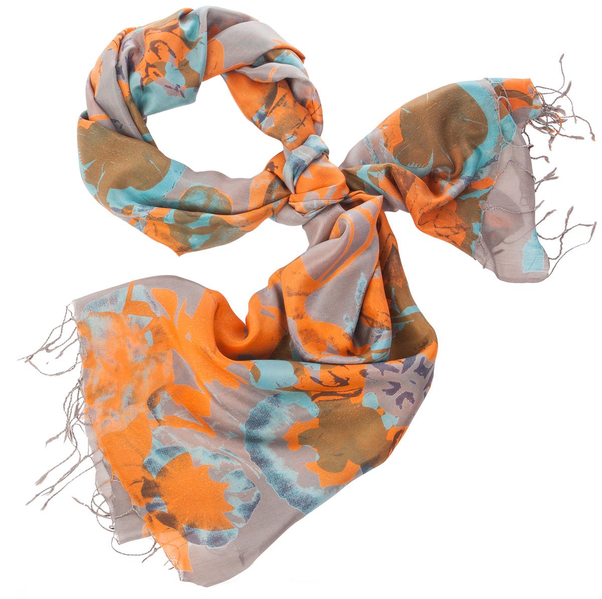 Палантин женский Michel Katana, цвет: серый, голубой, оранжевый. S30-SMUDGE.FL/SAFFRON. Размер 110 x 180 смS30-SMUDGE.FL/SAFFRONСтильный женский палантин Michel Katana станет великолепным завершением любого наряда. Палантин изготовлен из шелка и оформлен ярким принтом. По краям модель дополнена неширокой бахромой. Изящный палантин поможет вам создать изысканный женственный образ, а также согреет в непогоду.