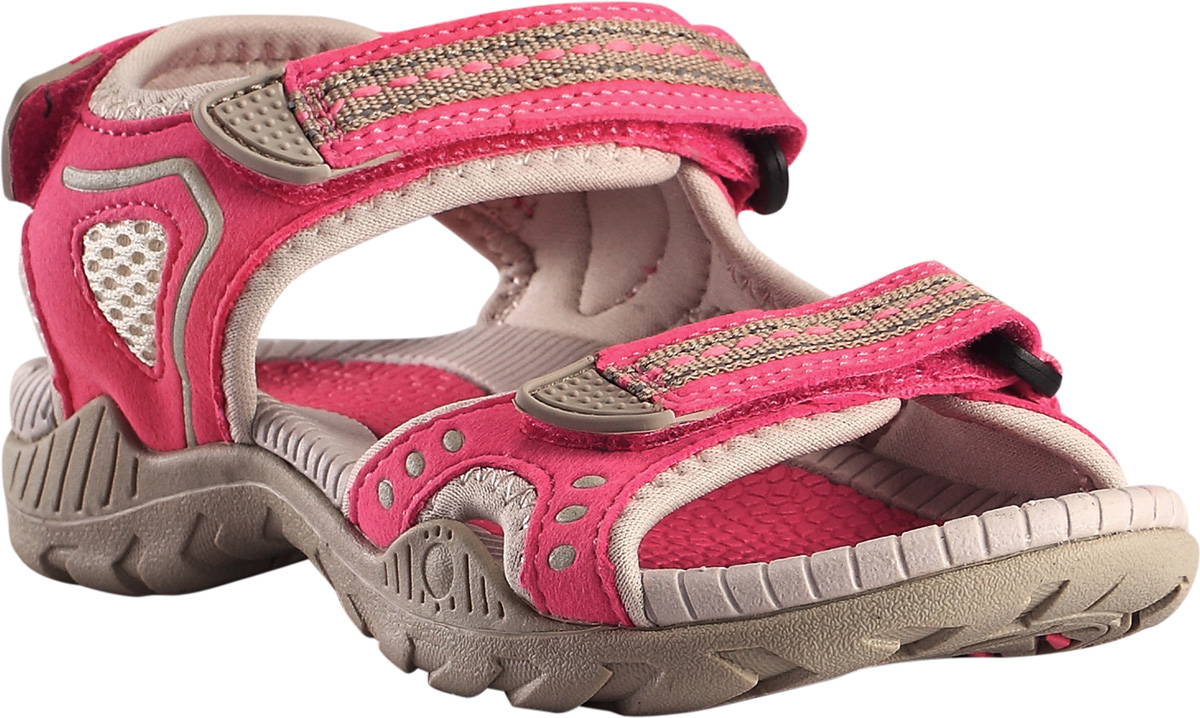 Сандалии детские Reima Luft, цвет: розовый. 5693073360. Размер 335693073360Дышащие спортивные детские сандалии легко надевать и застегивать. Застежка на трех ремешках позволяет максимально удобно застегнуть сандалии точно по ноге. А благодаря неопреновой подкладке, они очень комфортные и не натирают. Легкая и эргономичная конструкция из ЭВА с поверхностью из микрофибры надежно поддерживает ногу. Простой в уходе материал верха защищает от мелких брызг!