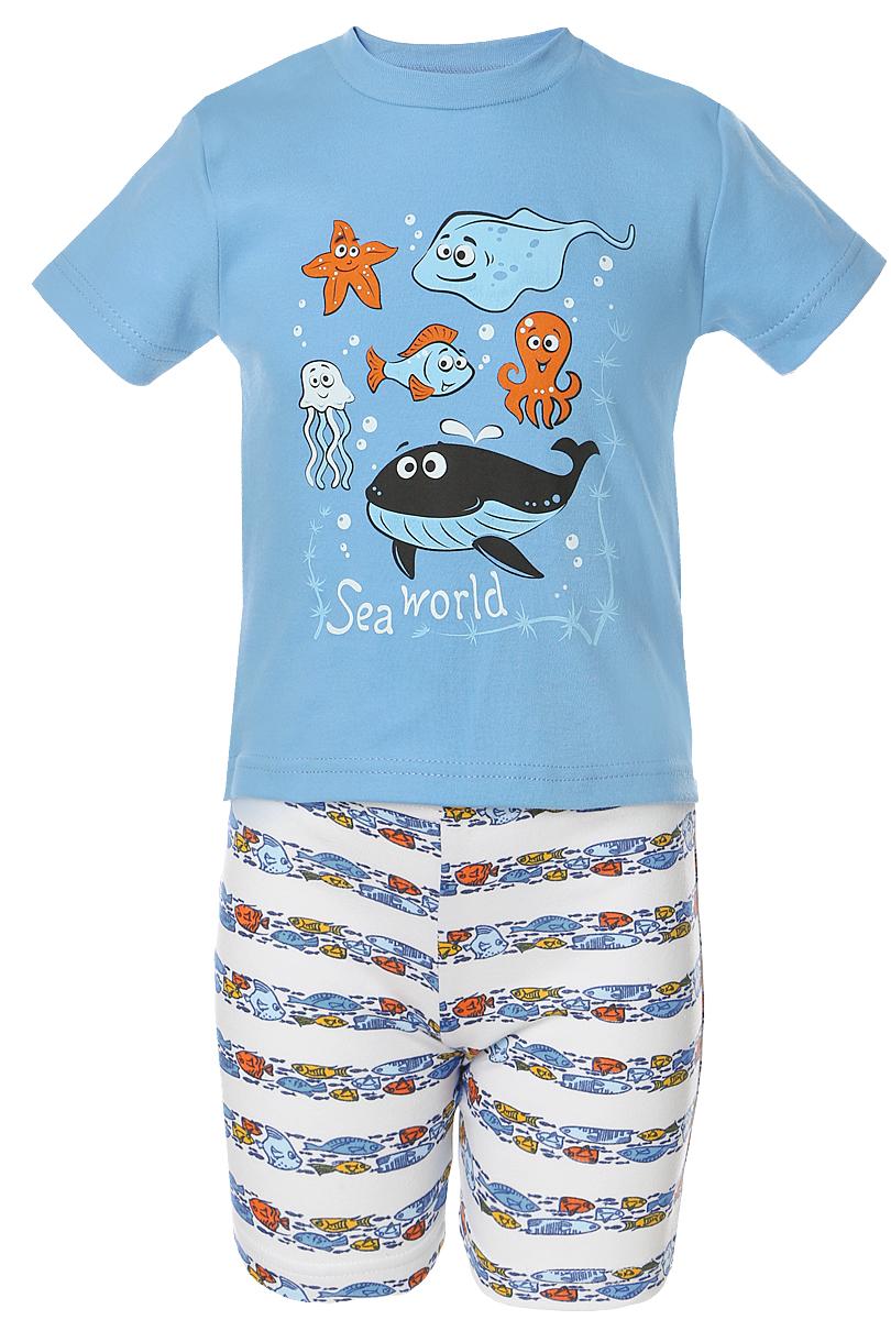 Пижама для мальчика Веселый малыш Подводный мир, цвет: синий. 237130-N (1). Размер 134237130Пижама для мальчика Веселый малыш выполнена из качественного материала и состоит из футболки и шорт. Футболка с короткими рукавами и круглым вырезом горловины. Шорты дополнены эластичной резинкой.