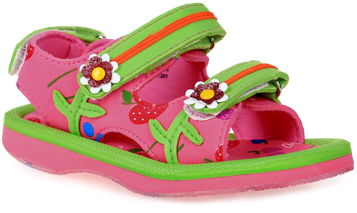 Сандалии для девочки Котофей, цвет: розовый, салатовый. 225025-11. Размер 25225025-11Модные сандалии для девочки от Котофей выполнены из материала ЭВА. Внутренняя поверхность из текстиля не натирает. Ремешки с застежками-липучками надежно зафиксируют модель на ноге. Стелька из материала ЭВА обеспечивает комфорт при движении. Подошва дополнена рифлением.