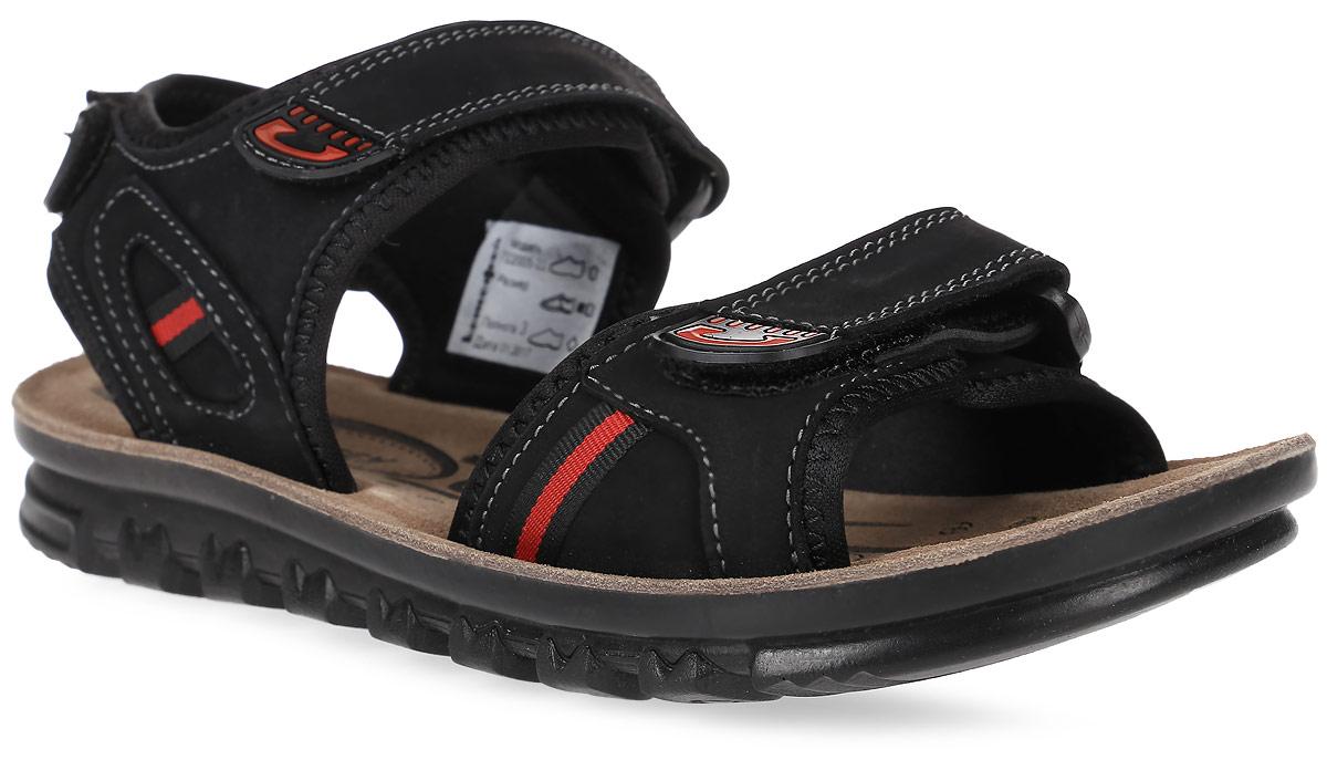 Сандалии для мальчика Котофей, цвет: черный. 722005-22. Размер 36722005-22Модные сандалии для мальчика от Котофей выполнены из натуральной кожи и текстиля. Внутренняя поверхность из текстиля и стелька из натуральной кожи обеспечат комфорт при движении. Ремешки с застежками-липучками надежно зафиксируют модель на ноге. Подошва дополнена рифлением.