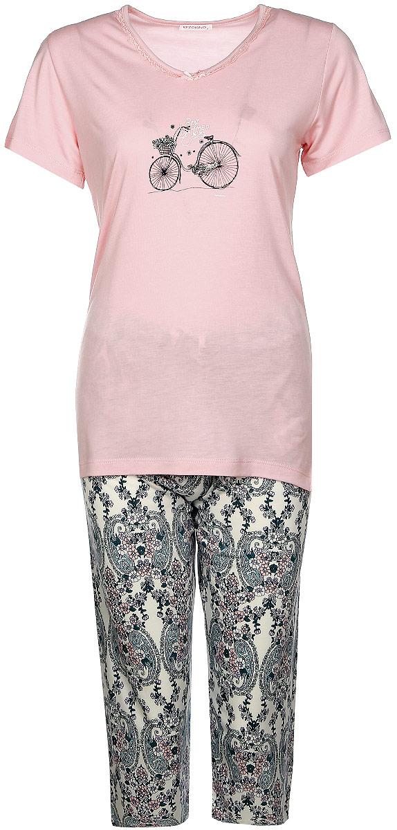 Домашний комплект женский Kezokino, цвет: розовый. 610027 1173. Размер XL (50)610027 1173Красивый комплект, выполненный из 100% вискозы, состоит из удлиненной футболки с круглым вырезом горловины и короткими рукавами и капри приятной расцветки. Отличный вариант для дома и отдыха на каждый день.