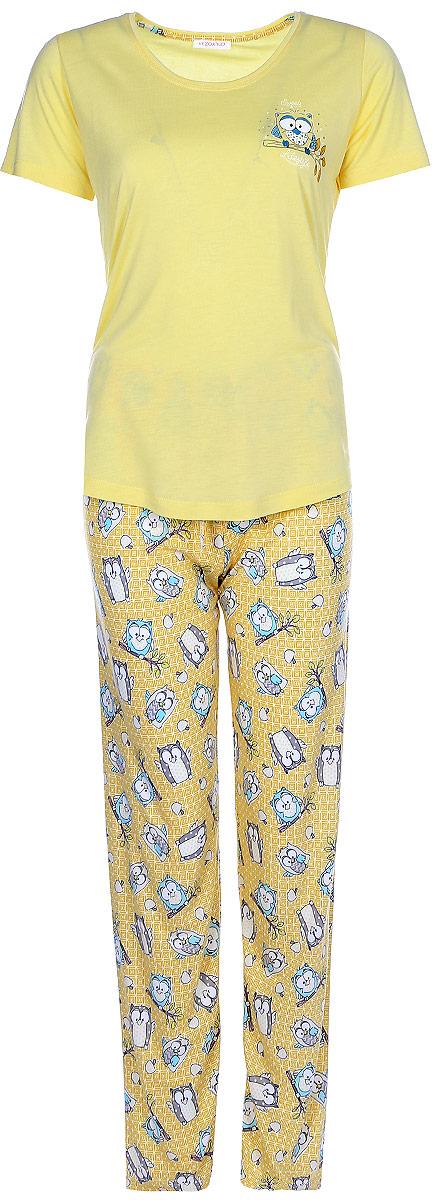 Домашний комплект женский Kezokino, цвет: желтый. 610173 1283. Размер XL (50)610173 1283Красивый комплект, выполненный из 100% вискозы, состоит из футболки и брюк приятной расцветки. Отличный вариант для дома и отдыха на каждый день.