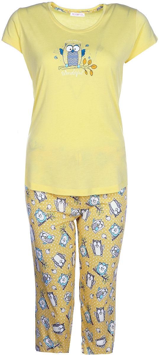 Домашний комплект женский Kezokino, цвет: желтый. 610171 1283. Размер M (46)610171 1283Красивый комплект, выполненный из 100% вискозы, состоит из футболки и капри приятной расцветки. Отличный вариант для дома и отдыха на каждый день.