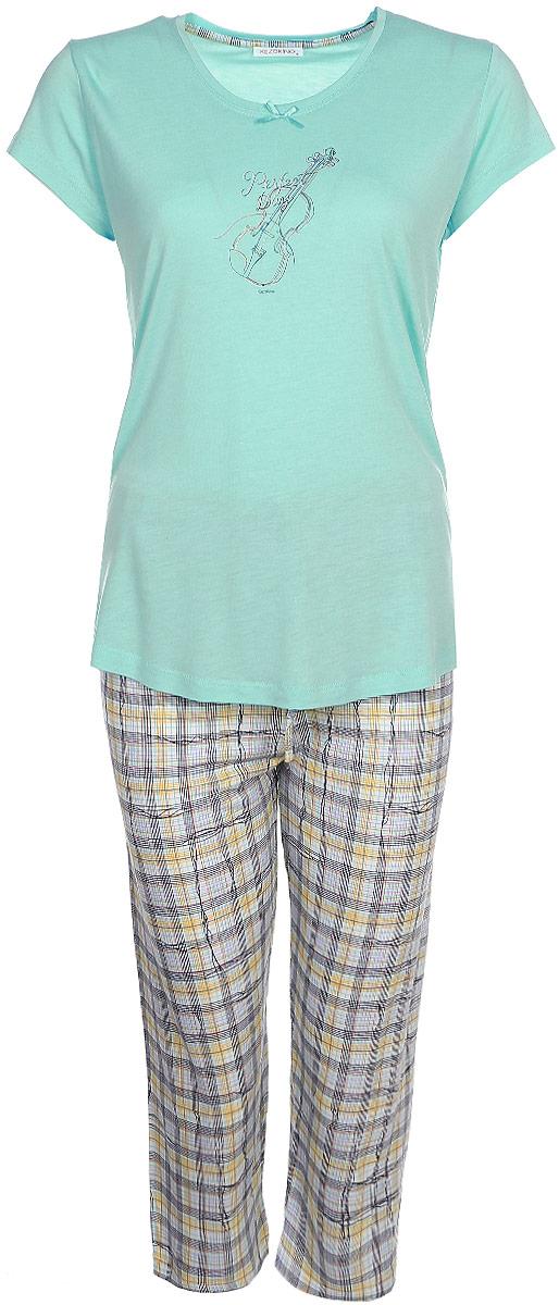 Домашний комплект женский Kezokino, цвет: бирюзовый. 610150 1250. Размер M (46)610150 1250Красивый комплект, выполненный из 100% вискозы, состоит из футболки и капри приятной расцветки. Отличный вариант для дома и отдыха на каждый день.