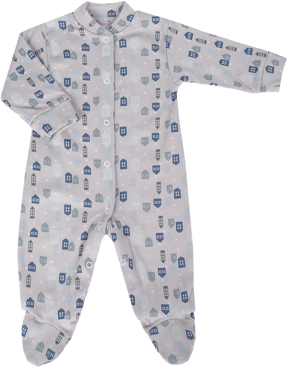 Комбинезон домашний для мальчика Веселый малыш One, цвет: серый. 51152/One- Домики. Размер 8051152Комбинезон домашний для мальчика Веселый малыш с закрытыми ножками выполнен из качественного материала. Модель с длинными рукавами застегивается на кнопки.