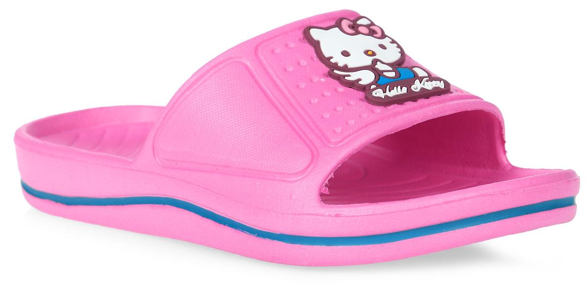 Шлепанцы для девочки Kakadu Hello Kitty, цвет: розовый. 5957A. Размер 355957AЯркие шлепанцы Hello Kitty от Kakadu придутся по душе вашей юной моднице. Модель полностью выполнена из ЭВА и на перемычке оформлена изображением очаровательной кошечки Китти. Материал ЭВА имеет пористую структуру, обладает великолепными теплоизоляционными и морозостойкими свойствами, придает обуви амортизационные свойства, мягкость при ходьбе, устойчивость к истиранию подошвы. Рельеф на верхней поверхности подошвы предотвращает выскальзывание ноги. Гибкая подошва дополнена рифлением, которое гарантирует идеальное сцепление с любыми поверхностями. Удобные шлепанцы прекрасно подойдут для похода в бассейн или на пляж.