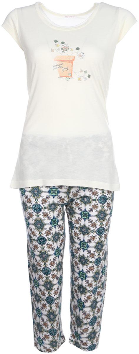 Домашний комплект женский Kezokino, цвет: ванильный. 610162 0833. Размер M (46)610162 0833Красивый комплект, выполненный из 100% вискозы, состоит из футболки и капри приятной расцветки. Отличный вариант для дома и отдыха на каждый день.