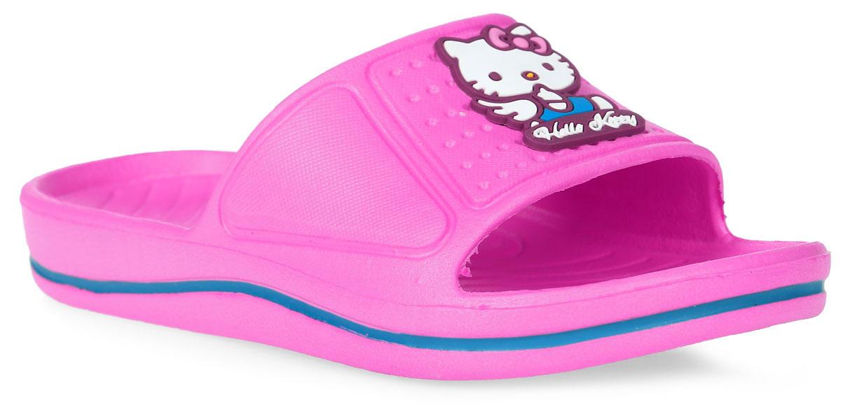 Шлепанцы для девочки Kakadu Hello Kitty, цвет: светло-розовый. 5957B. Размер 335957BЯркие шлепанцы Hello Kitty от Kakadu придутся по душе вашей юной моднице. Модель полностью выполнена из ЭВА и на перемычке оформлена изображением очаровательной кошечки Китти. Материал ЭВА имеет пористую структуру, обладает великолепными теплоизоляционными и морозостойкими свойствами, придает обуви амортизационные свойства, мягкость при ходьбе, устойчивость к истиранию подошвы. Рельеф на верхней поверхности подошвы предотвращает выскальзывание ноги. Гибкая подошва дополнена рифлением, которое гарантирует идеальное сцепление с любыми поверхностями. Удобные шлепанцы прекрасно подойдут для похода в бассейн или на пляж.