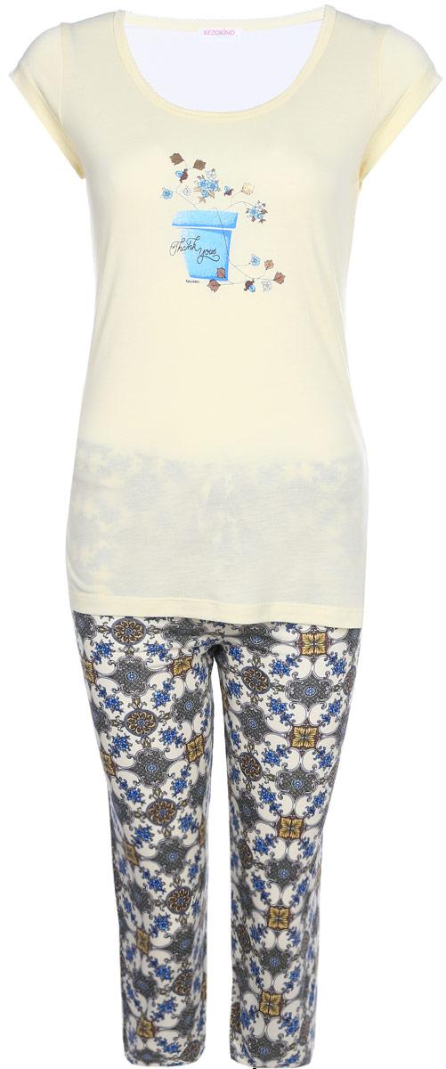 Домашний комплект женский Kezokino, цвет: молочный. 610162 0833. Размер M (46)610162 0833Красивый комплект, выполненный из 100% вискозы, состоит из футболки и капри приятной расцветки. Отличный вариант для дома и отдыха на каждый день.