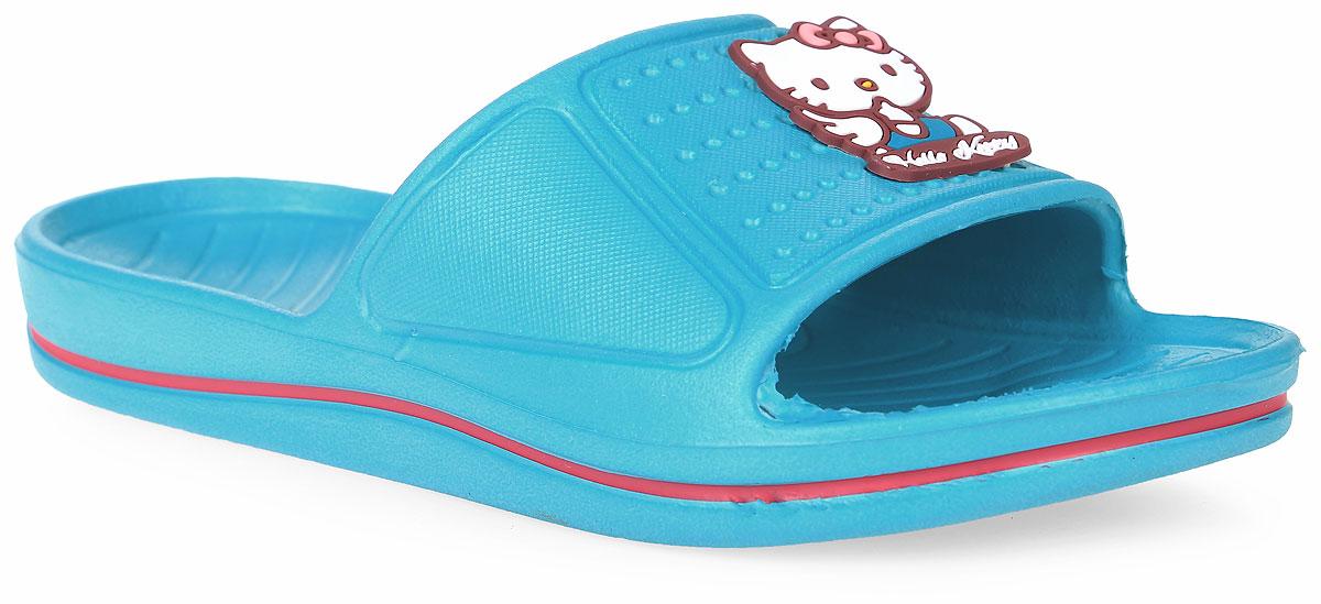 Шлепанцы для девочки Kakadu Hello Kitty, цвет: голубой. 5957C. Размер 325957CЯркие шлепанцы Hello Kitty от Kakadu придутся по душе вашей юной моднице. Модель полностью выполнена из ЭВА и на перемычке оформлена изображением очаровательной кошечки Китти. Материал ЭВА имеет пористую структуру, обладает великолепными теплоизоляционными и морозостойкими свойствами, придает обуви амортизационные свойства, мягкость при ходьбе, устойчивость к истиранию подошвы. Рельеф на верхней поверхности подошвы предотвращает выскальзывание ноги. Гибкая подошва дополнена рифлением, которое гарантирует идеальное сцепление с любыми поверхностями. Удобные шлепанцы прекрасно подойдут для похода в бассейн или на пляж.