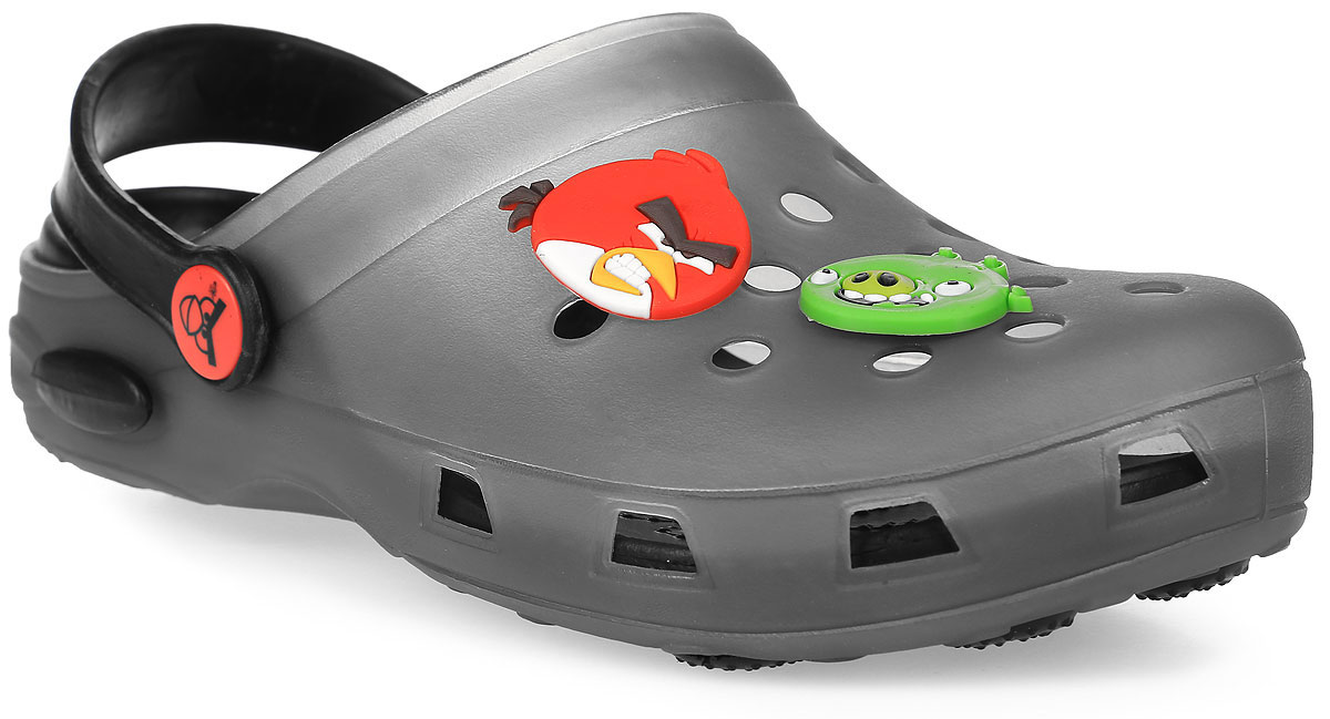 Сабо для мальчика Kakadu Angry Birds, цвет: серый. 5955A. Размер 345955AМодные сабо от Kakadu не оставят равнодушным вашего мальчика. Модель изготовлена из EVA (вспененного полимера), надежного и легкого материала. EVA обладает хорошими амортизирующими свойствами и водонепроницаемостью. Мысок дополнен отверстиями, которые обеспечивают естественную вентиляцию, и оформлен накладками с изображением персонажей игры Angry Birds. Сабо оснащены ремешком из EVA, который обеспечивает надежную фиксацию ноги. Внутренняя поверхность подошвы имеет рельеф, который предотвращает выскальзывание ноги. Рельефная поверхность подошвы обеспечивает отличное сцепление с любой поверхностью. Такие сабо - отличное решение для походов на пляж.