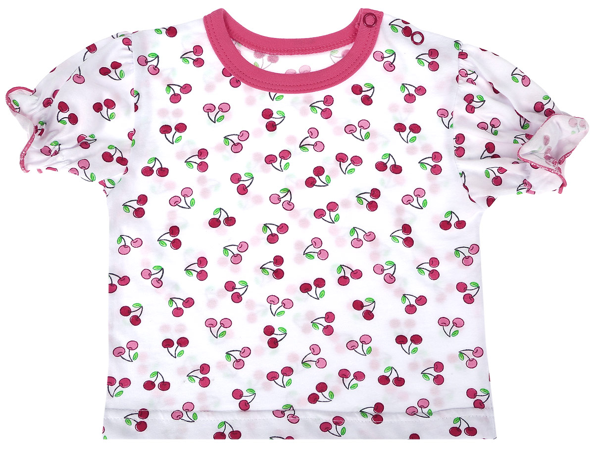 Футболка для девочки Веселый малыш One, цвет: розовый. 69172/one-Вишенки. Размер 8669172_вишенкиФутболка для девочки Веселый малыш выполнена из качественного материала. Модель с круглым вырезом горловины и короткими рукавами.