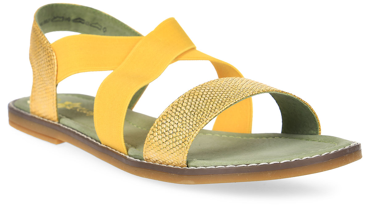 Сандалии для девочки Котофей, цвет: желтый. 724002-22. Размер 40724002-22Модные сандалии для девочки от Котофей выполнены из искусственной кожи с тиснением под рептилию и текстиля. Внутренняя поверхность и стелька из натуральной кожи обеспечат комфорт при движении. Эластичные резинки на подъеме для идеальной посадки модели на ноге. Подошва дополнена рифлением.