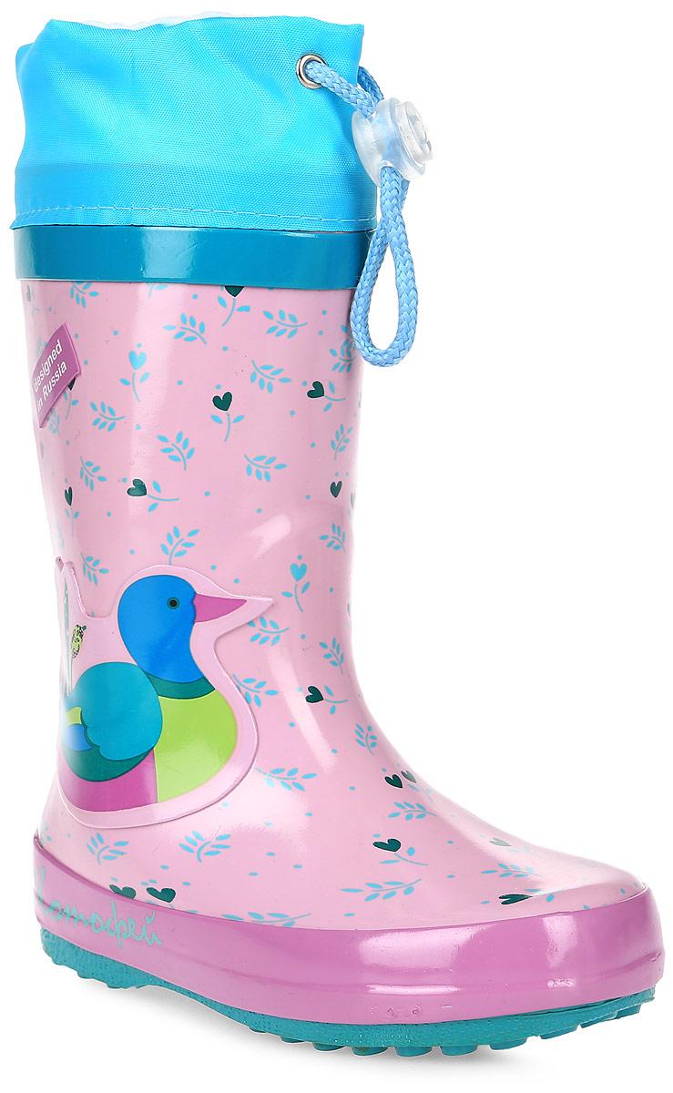Сапоги резиновые для девочки Котофей, цвет: розовый, бирюзовый. 266016-11. Размер 24266016-11Резиновые сапоги от Котофей - идеальная обувь в холодную дождливую погоду для вашей девочки. Сапоги выполнены из высококачественной резины и оформлены оригинальным принтом. Подкладка из шерсти и стелька из текстиля не дадут ногам замерзнуть. Текстильный верх голенища регулируется в объеме за счет шнурка со стоппером. Подошва дополнена рифлением.