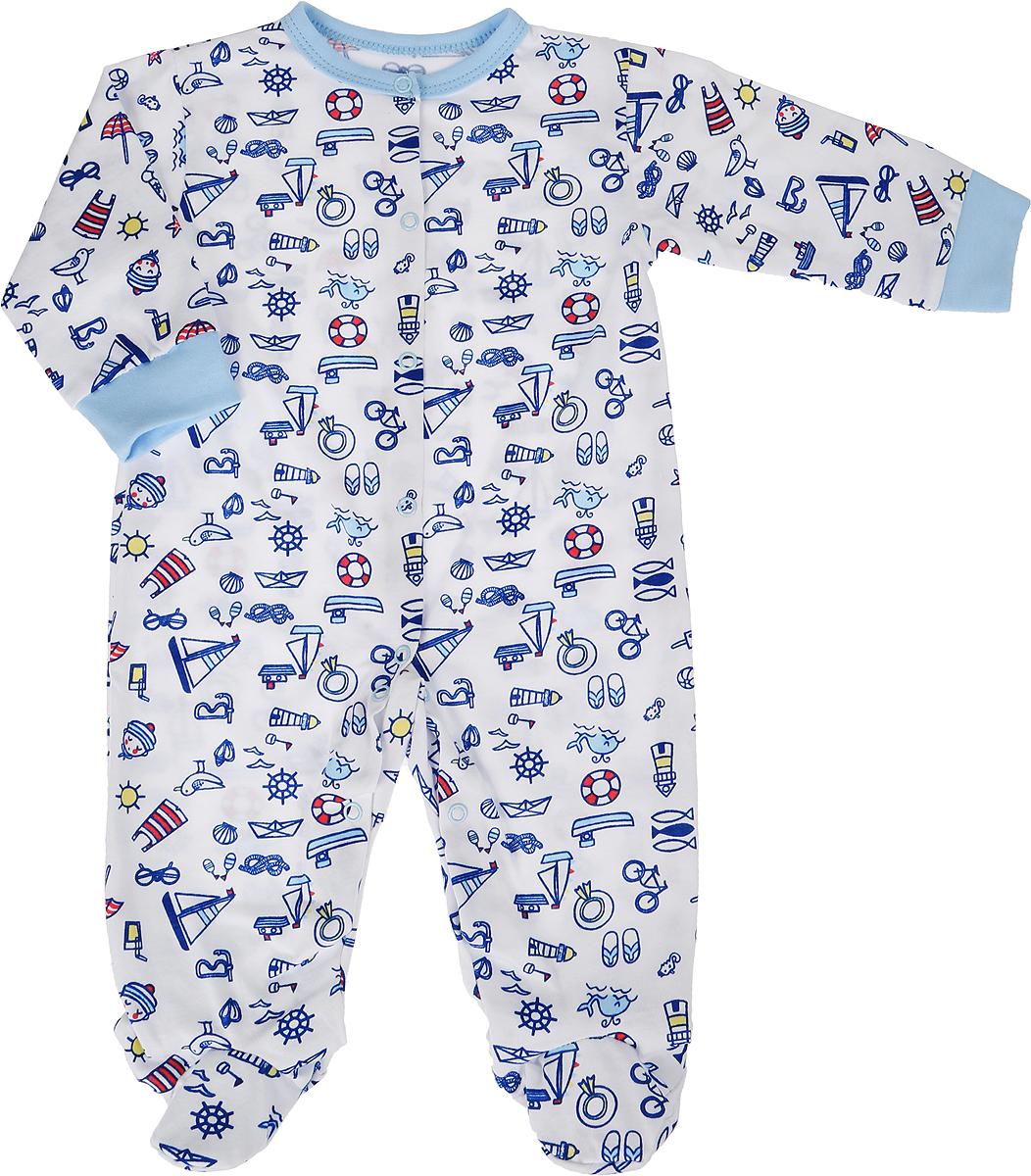 Комбинезон домашний для мальчика Веселый малыш One, цвет: голубой. 51172/one-Морская. Размер 6251172_морскаяКомбинезон домашний для мальчика Веселый малыш One выполнен из качественного материала. Модель с закрытыми ножками застегивается на кнопки.