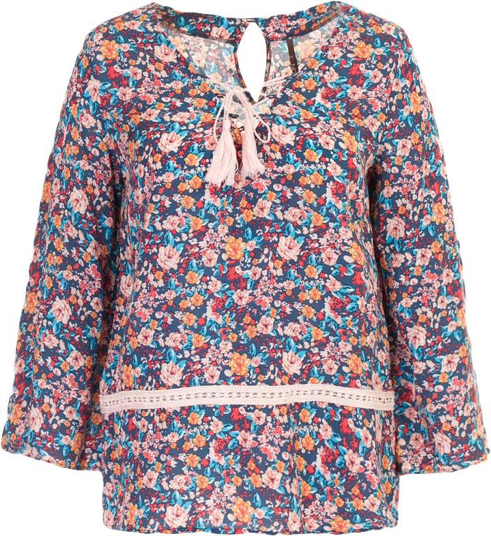 Блузка женская Baon, цвет: синий. B177045_Navy Printed. Размер S (44)B177045_Navy PrintedБлузка женская Baon выполнена из вискозы. Передняя часть блузки украшена модной деталью - шнуровкой. На спине расположена застёжка на пуговицу.