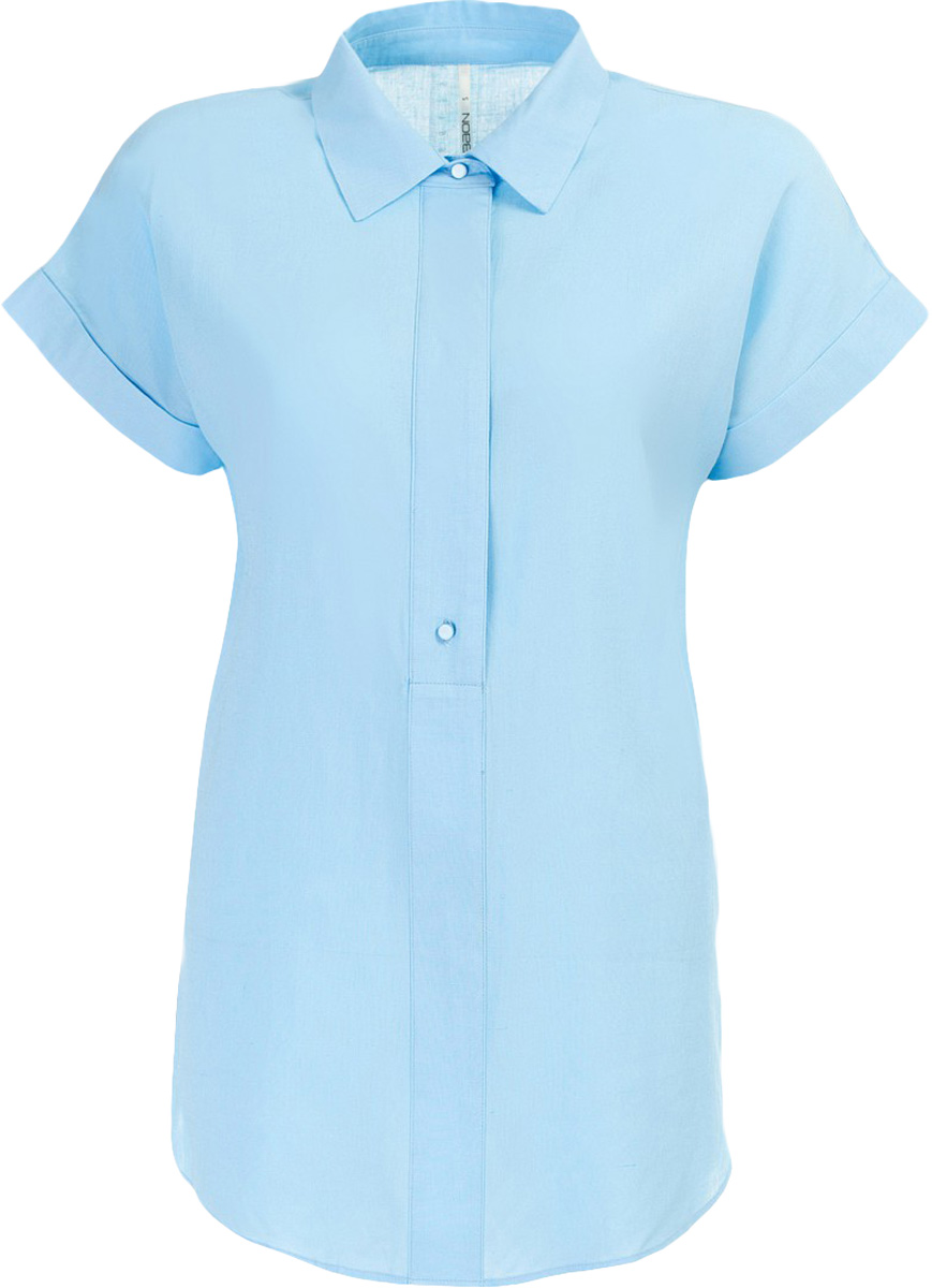 Блузка женская Baon, цвет: голубой. B197011_Midday Sky. Размер L (48)B197011_Midday SkyБлузка женская Baon выполнена из вискозы и льна. Модель с отложным воротником и короткими рукавами.