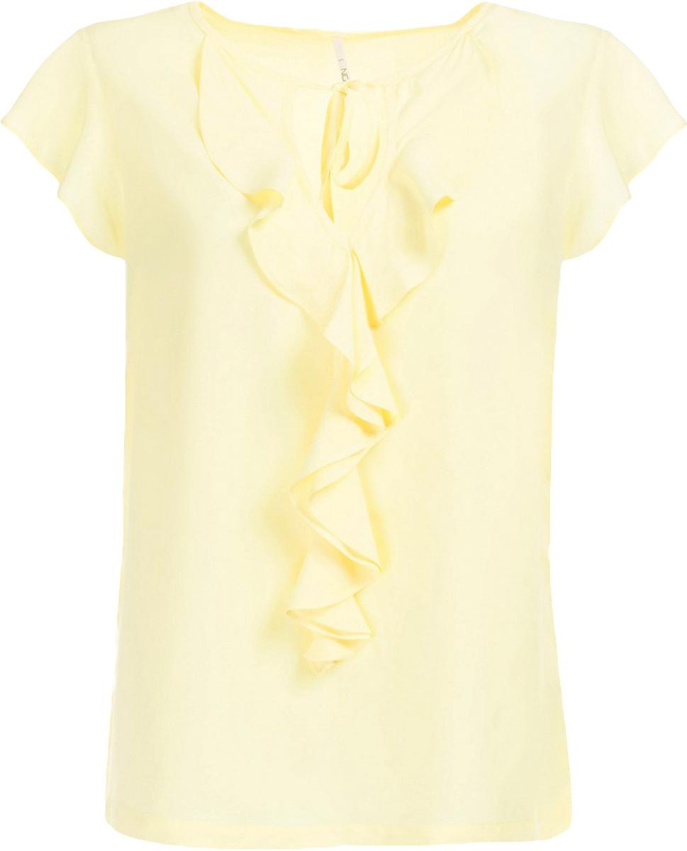 Блузка женская Baon, цвет: желтый. B197013_Canary. Размер M (46)B197013_CanaryБлузка женская Baon выполнена из вискозы. Модель с круглым вырезом горловины и короткими рукавами дополнена оборками.