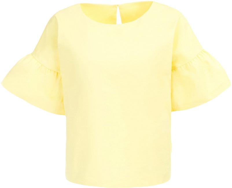 Блузка женская Baon, цвет: желтый. B197017_Canary. Размер L (48)B197017_CanaryБлузка женская Baon выполнена из хлопка, полиамида и эластана. Блузка имеет прямой крой. На спине расположена застёжка на пуговицу.