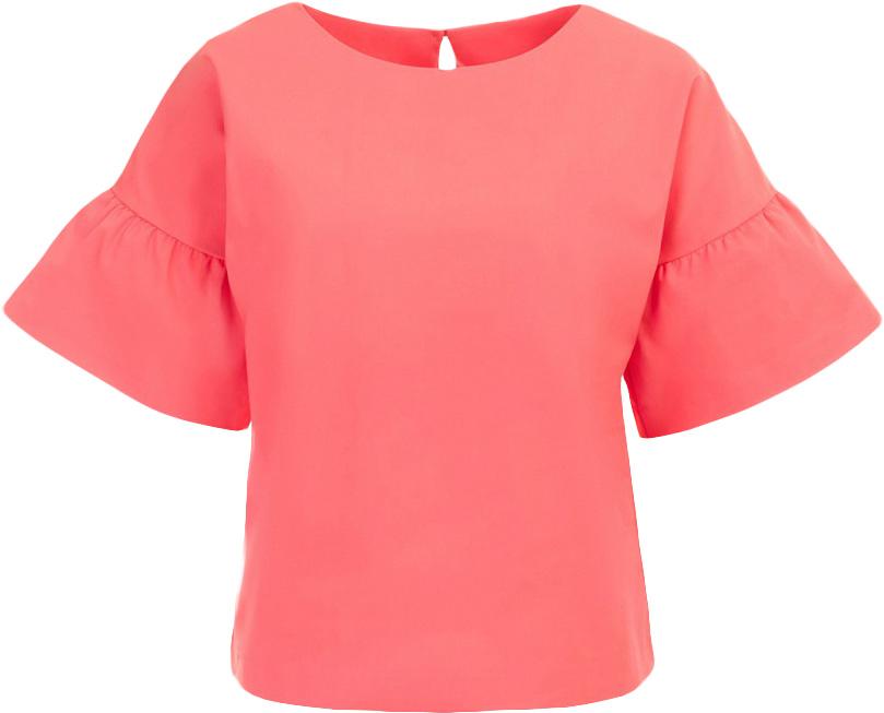 Блузка женская Baon, цвет: розовый. B197017_Pieplant. Размер L (48)B197017_PieplantБлузка женская Baon выполнена из хлопка, полиамида и эластана. Блузка имеет прямой крой. На спине расположена застёжка на пуговицу.