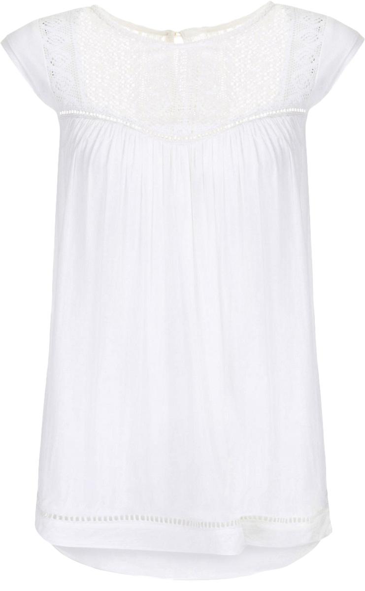 Блузка женская Baon, цвет: белый. B197055_Milk. Размер XS (42)B197055_MilkБлузка женская Baon выполнена из вискозы. Модель с круглым вырезом горловины и короткимирукавами сзади застегивается на пуговицу.