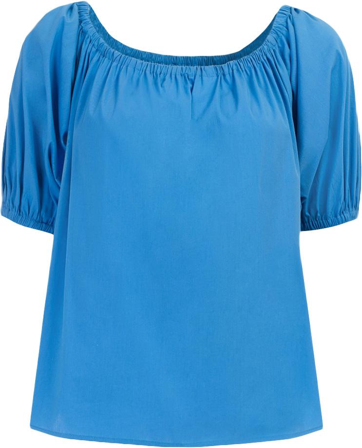 Блузка женская Baon, цвет: синий. B197064_Larkspur. Размер S (44)B197064_LarkspurБлузка женская Baon выполнена из хлопка, эластана и полиамида. Манжеты и вырез горловины дополнены эластичными вставками-резинками.