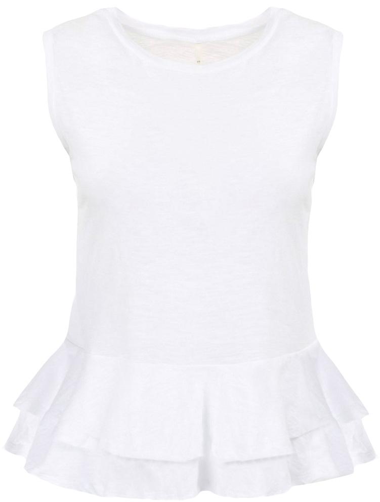Блузка женская Baon, цвет: белый. B237033_White. Размер XS (42)B237033_WhiteБлузка женская Baon выполнена из натурального хлопка. Модель с круглым вырезом горловины понизу оформлена оборками.