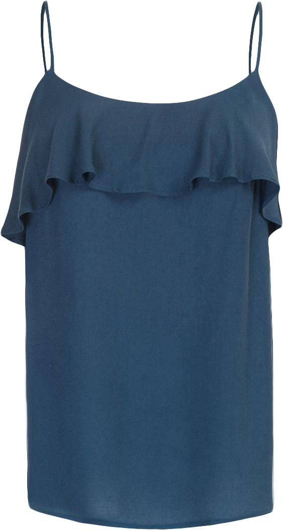Топ женский Baon, цвет: синий. B267011_Navy. Размер S (44)B267011_NavyТоп женский Baon выполнен из вискозы. Модель с бретельками дополнена оборкой.