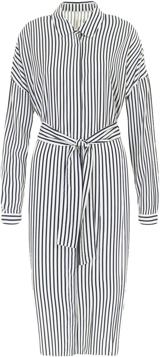 Платье Baon, цвет: белый, синий. B457031_Milk-Dark Navy Printed. Размер L (48)B457031_Milk-Dark Navy PrintedПлатье Baon выполнено из вискозы. Модель с отложным воротником и длинными рукавами оформлена оригинальным принтом.