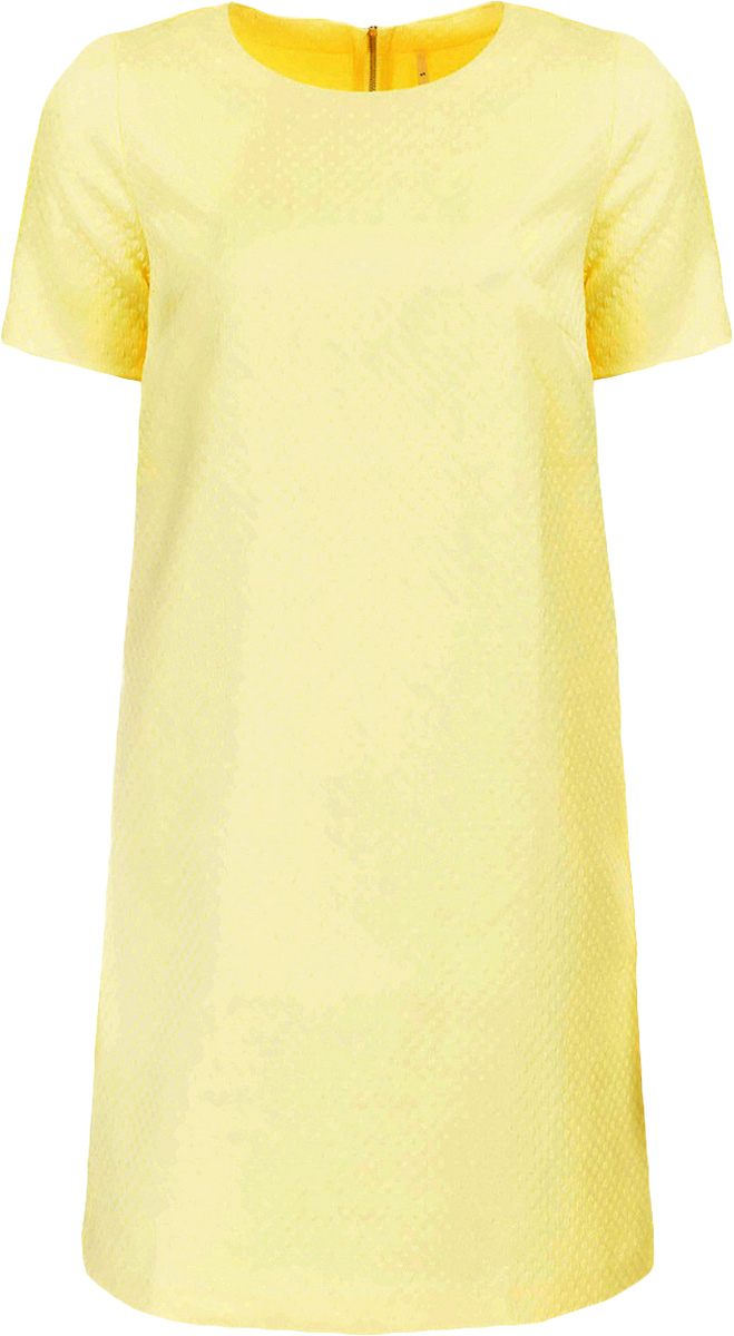 Платье Baon, цвет: желтый. B457043_Canary. Размер S (44)B457043_CanaryПлатье Baon выполнено из хлопка, эластана и полиамида. Модель с круглым вырезом горловины и короткими рукавами.