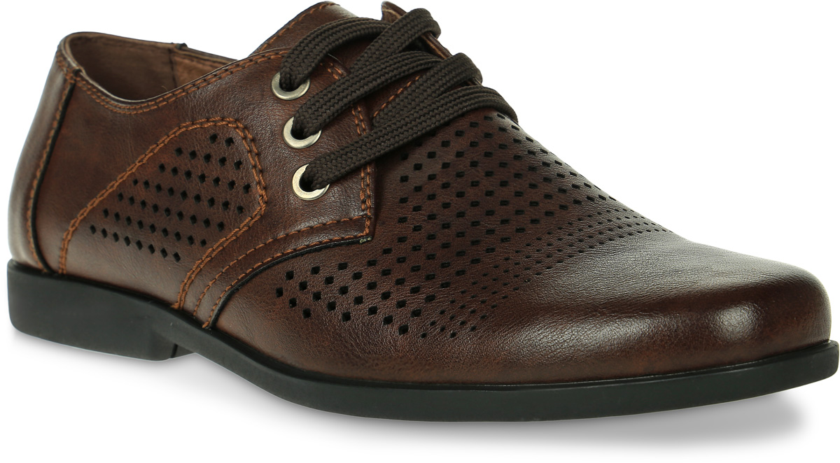 Туфли для мальчика Kakadu, цвет: коричневый. 6056B. Размер 366056BСтильные туфли от Kakadu придутся по душе, как юным модникам, так и их заботливым родителям. Модель выполнена из искусственной кожи с перфорацией. Шнуровка надежно фиксирует изделие на ноге. Стелька из натуральной кожи гарантирует удобство и комфорт. Подошва из резины обеспечит легкость и естественную свободу движений.