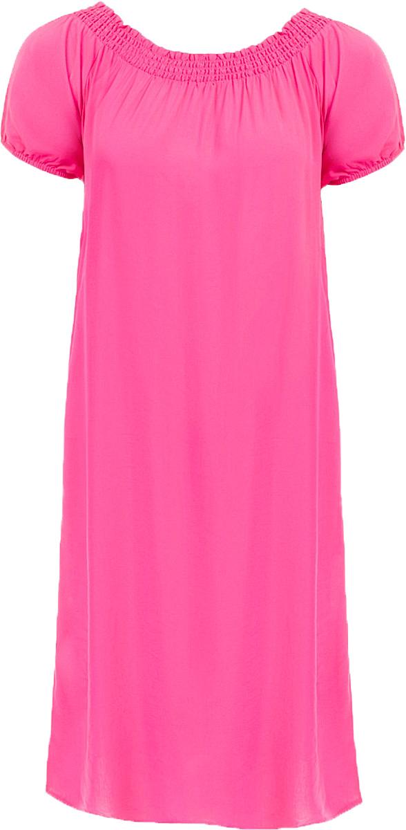 Платье Baon, цвет: розовый. B457054_Pale Magenta. Размер L (48)B457054_Pale MagentaПлатье Baon выполнено из вискозы. Модель с воротником-лодочкой и короткими рукавами.