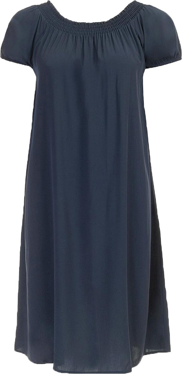 Платье Baon, цвет: темно-синий. B457054_Dark Navy. Размер S (44)B457054_Dark NavyПлатье Baon выполнено из вискозы. Модель с воротником-лодочкой и короткими рукавами.