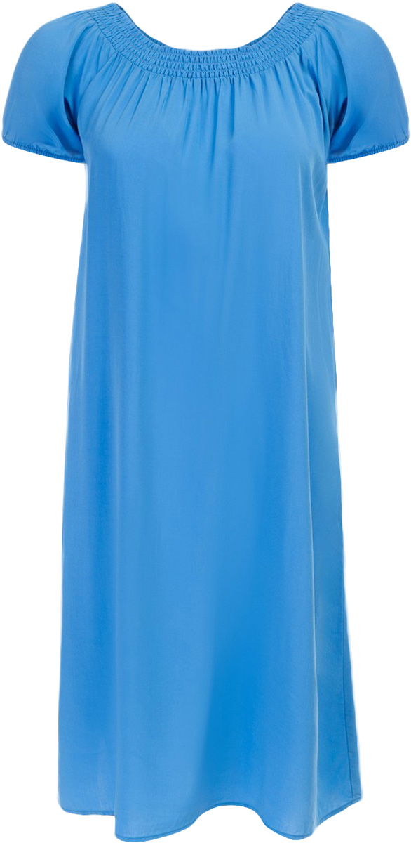 Платье Baon, цвет: синий. B457054_Larkspur. Размер L (48)B457054_LarkspurПлатье Baon выполнено из вискозы. Модель с воротником-лодочкой и короткими рукавами.